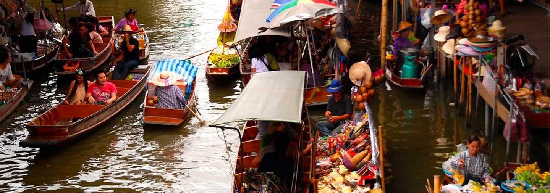 Ruta Mercado Flotante y Vía del Tren de Bangkok